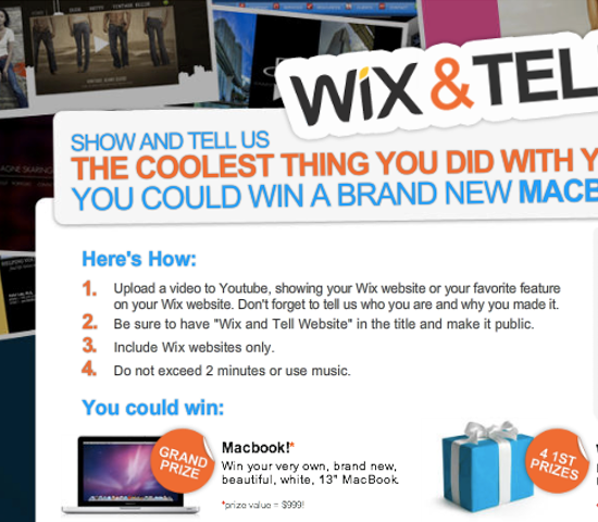 "Wix is the next to hold a ""talk about us online in a format we want and we might give you a gadget"" campaign."