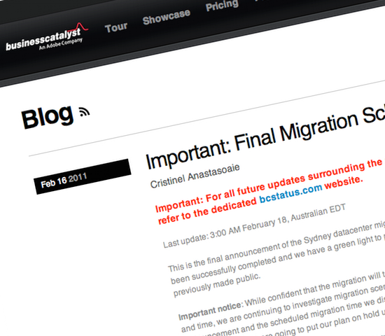 Business Catalyst Migration Announcement
