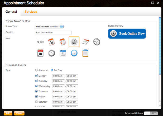 SiteKreator Appointment Scheduler configuration