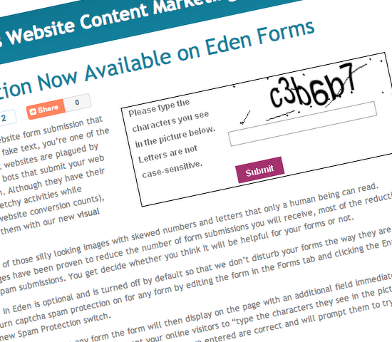 On June 3, Eden Platform announced it would make Captcha functionality available for its forms.