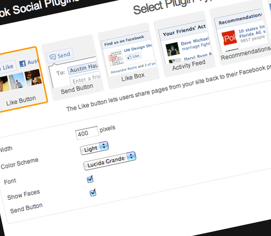 SiteKreator updates its Facabook Social Plugins application, adding the Send button and simplifying the interface.