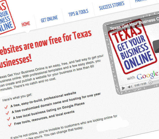 Google's Texas Get Online campaign lets small business owners believe Success Story websites have been built using Intuit's website builder, when this seems unlikely.