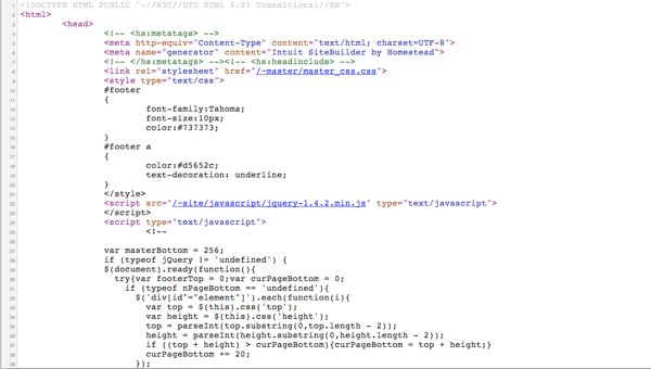 Intuit Homestead Generated HTML Code