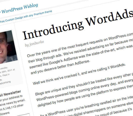 WordPress.com, the hosted version of WordPress.org, today announced it was opening its platform to advertising.